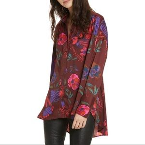 Free People Silky Nights Floral Tunic Extra Small